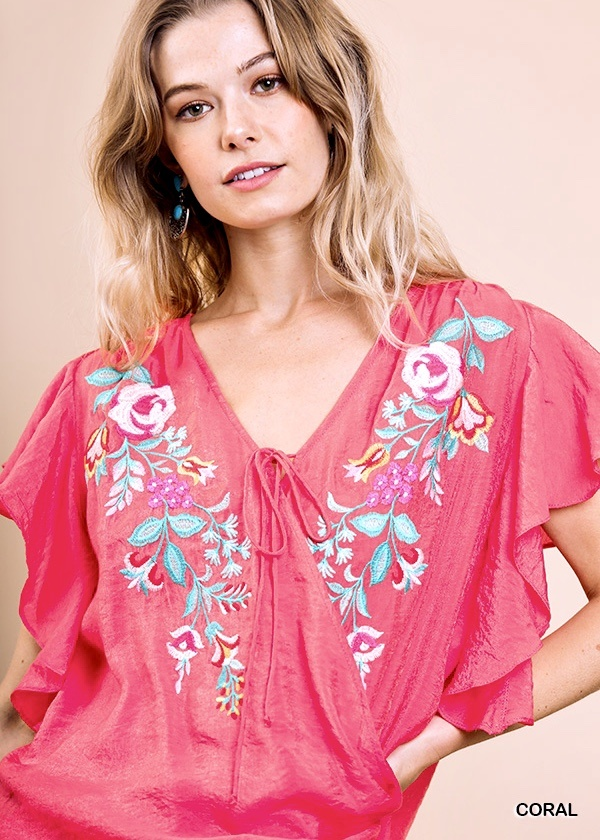 Coral Floral Embroidered Top