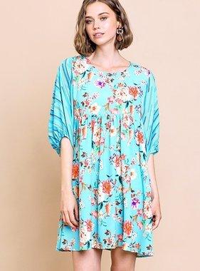 Mint Mix Floral Babydoll Dress