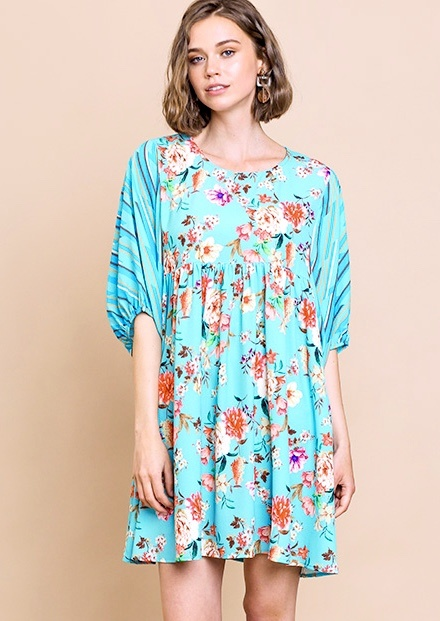 Mint Mix Floral Babydoll Dress