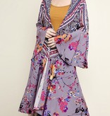 Grey/Pink Floral Combo Bell Sleeve Kimono
