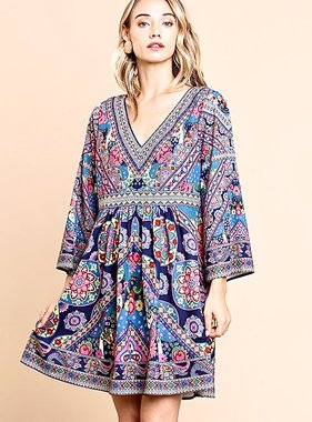Navy Mix Scarf Print Bell Sleeve Dress