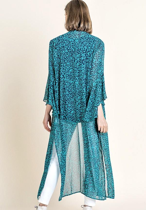 Turquoise Mix Leopard Kimono