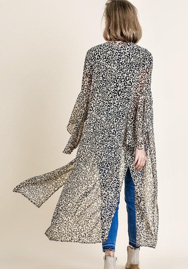 Stone Mix Leopard Kimono