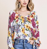 White Floral Spring Top