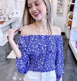 Blue Flower Print Off The Shoulder Bubble Top