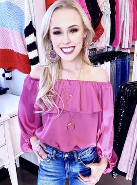 Hot Pink Off The Shoulder Bubble Top