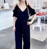 Black Ruffled Cold Shoulder Jumpsuit