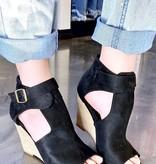 Avery Black Wedge Sandal