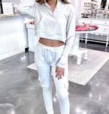 Grey Crop Zip-Up Sweater