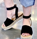 Black Platform Flats with Ankle Strap
