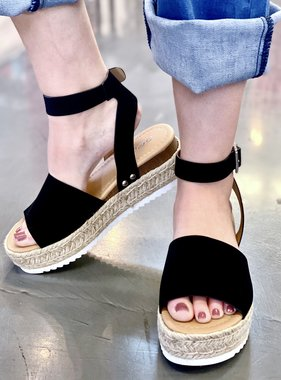 Black Platform Flats with Ankle Strap