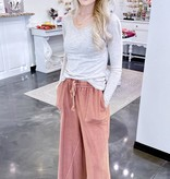 Red Bean Wide Leg Cropped Pant