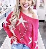 Fuchsia Star Print Sweater