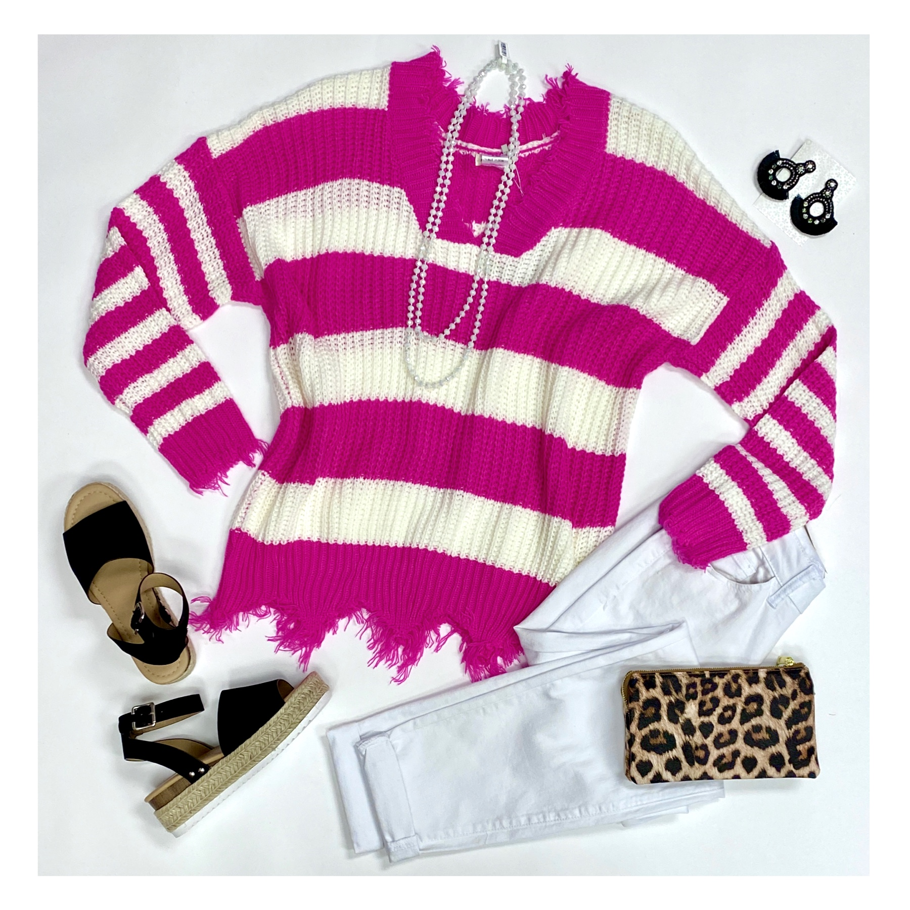 Hot Pink/White Distressed V-Neck Sweater