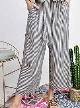 Black Striped Tie Waist Pants