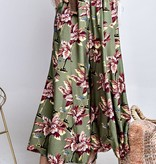 Faded Olive Floral Print Pants