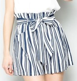 Navy Striped Paperbag Shorts
