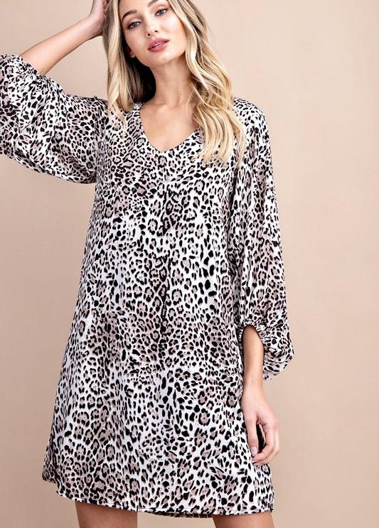 Black Leopard Print Balloon Sleeve Dress