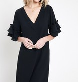 Black Pom-Pom Tiered Sleeve Dress