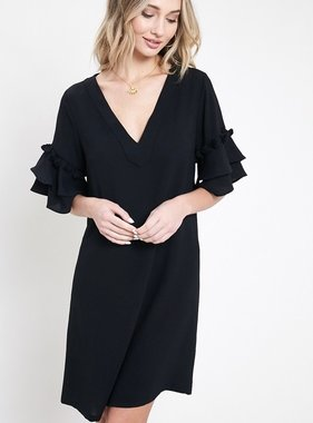 Black Pom-Pom Tiered Sleeve Dress