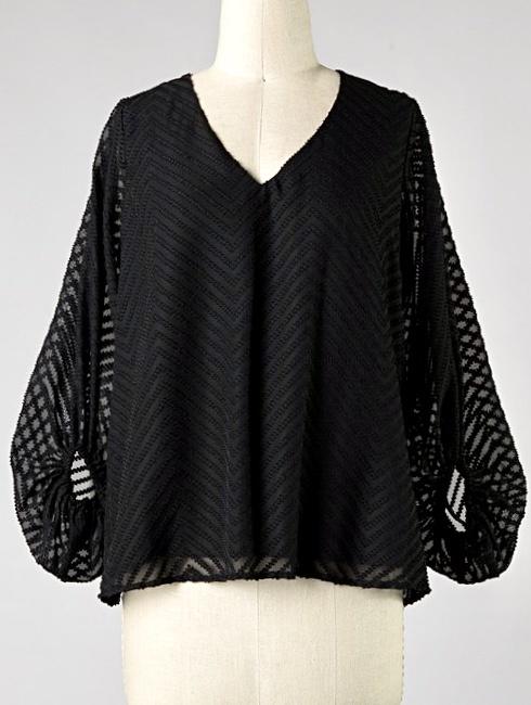 Black Chevron Textured Bubble Sleeve Top
