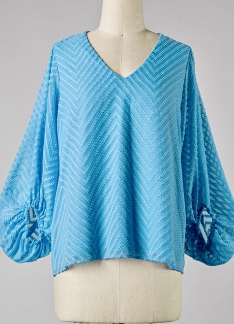 Blue Chevron Textured Bubble Sleeve Top