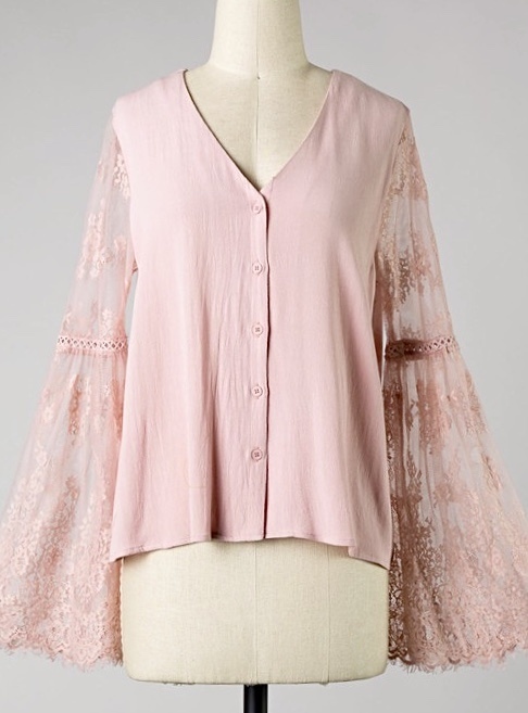 Blush Lace Bell Sleeve Top