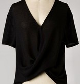 Black Crossed Hem Cropped Top