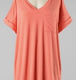 Simple V-Neck Pocket Tee Coral