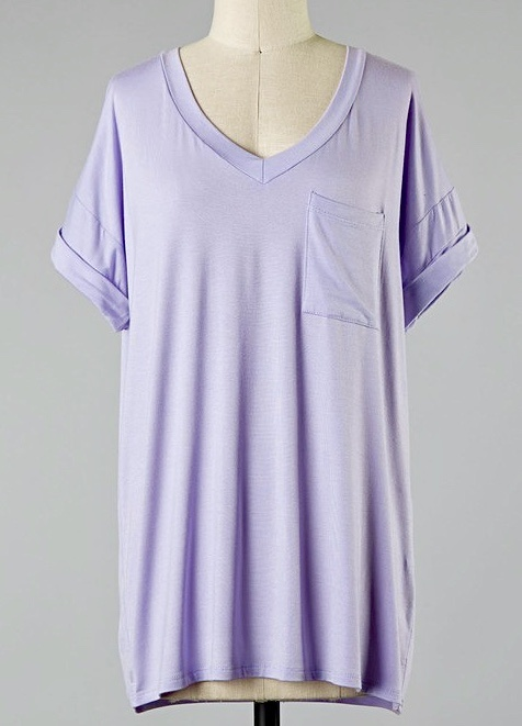 Simple V-Neck Pocket Tee Lilac