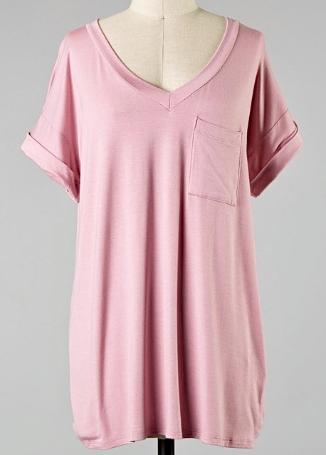 Simple V-Neck Pocket Tee Mauve