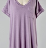 Simple V-Neck Pocket Tee Opera Mauve