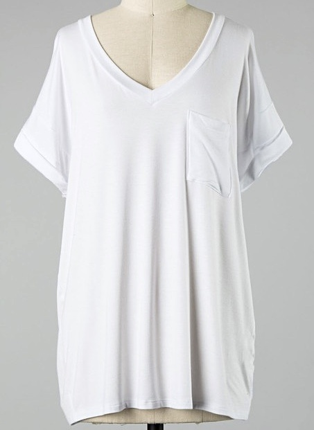 Simple V-Neck Pocket Tee White