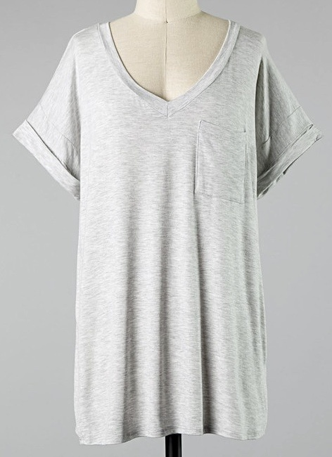 Simple V-Neck Pocket Tee Lt. Gray