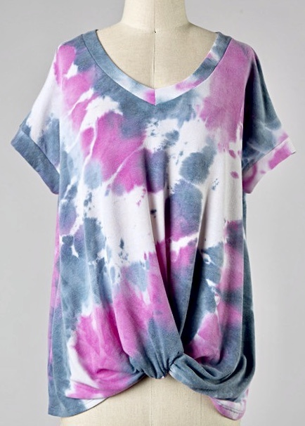 Hot Pink Tie Dye Twist Top