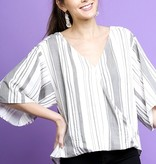 Black Striped 3/4 Sleeve Top