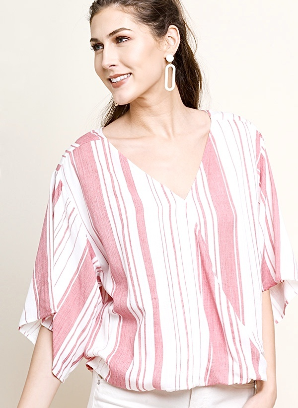 Tomato Red Striped 3/4 Sleeve Top