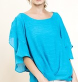 Turquoise SS Ruffle Detail Top