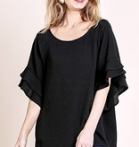 Black Layered Ruffle Sleeve Top