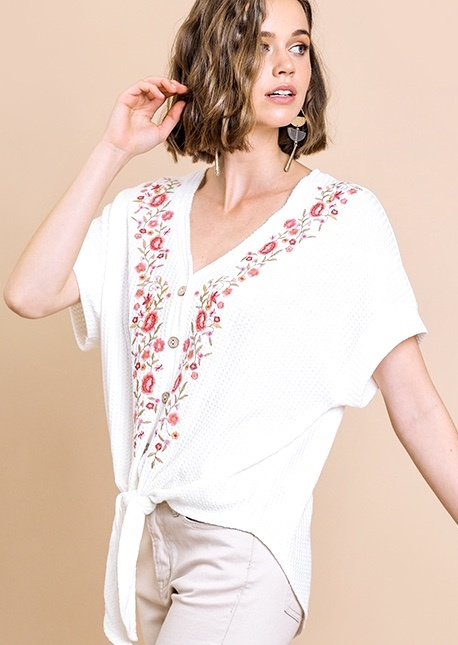 Off White Floral Embroidered Tie Top