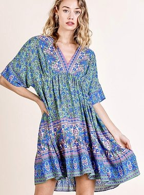 Green Mix SS V-Neck Boho Dress