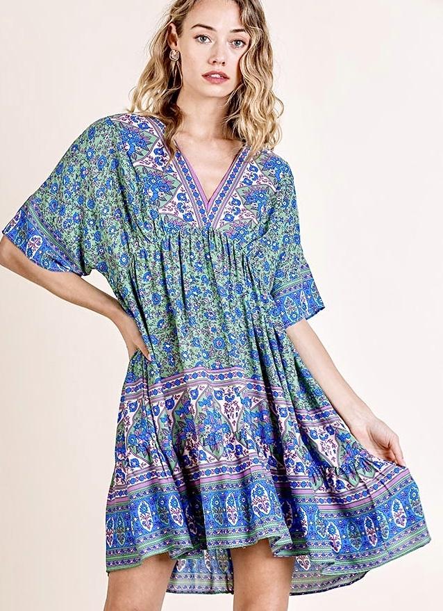 Green Mix SS V-Neck Boho Dress