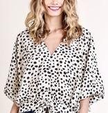 Cream Dalmatian Print Waist Tie Top