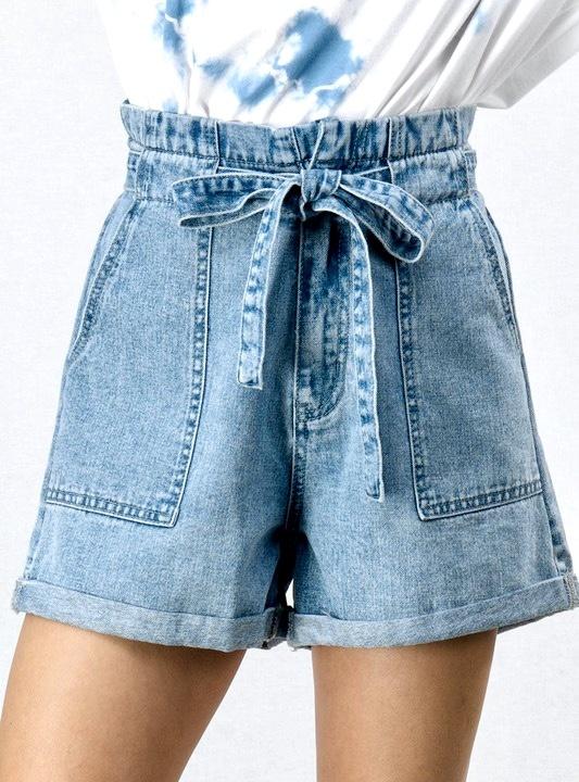 Denim Paper Bag Belted Shorts