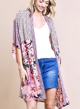 Taupe Mix Floral Kimono