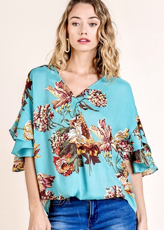Mint Mix Floral Crossover Top