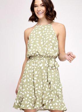 Green Tea Sleeveless Polka Dot Bubble Dress