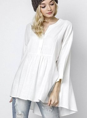 Off White Button Up 3/4 Sleeve Top