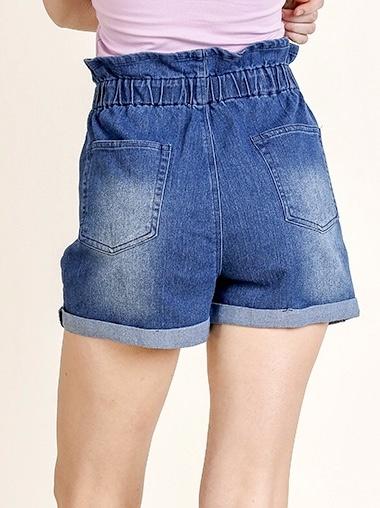 Medium Denim High Waist Paperbag Shorts