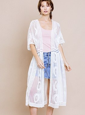 Cream Floral Lace Duster
